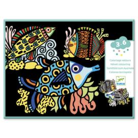 Djeco Velvet Colouring Pretty Fish | Fluwelen kleurplaten Vissen 3-6 jaar