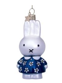 Vondels Ornament glas Nijntje in blauwe bloemetjes jurk | Miffy Delft blue flower dress
