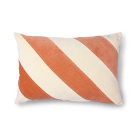 HKliving  Striped velvet cushion peach/cream (40x60)   Fluwelen kussen perzik/creme