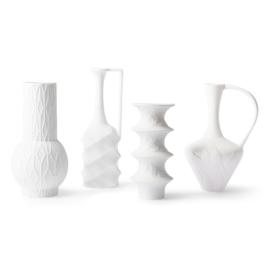 HKliving  Matt white porcelain vases (set of 4)