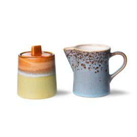 HKliving | 70's Ceramic milk en sugerpot / melk & suikerpot | Peat/berry