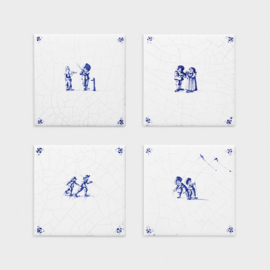 &Klevering Coaster delftware set of 4 | onderzetters set van 4