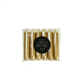 Rustik Lys Cadeau dinerkaarsjes Goud set van 6