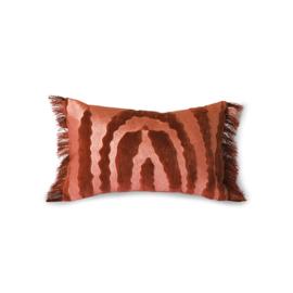 HKliving Fringed Velvet tiger cushion red (25x40)