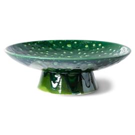 HKliving    the emeralds: ceramic bowl on base / Smaragd groene schaal op voet L