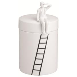 Räder voorraad pot man op ladder
