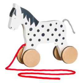 Goki Trekfiguur paardje wit met zwarte stippen