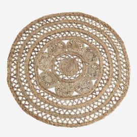 Madam Stoltz Round jute braided rug D:120 cm Jute Natural