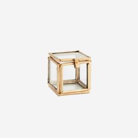 Madam Stoltz Quadratic glass box gold 3,5x3,5x3,5 cm