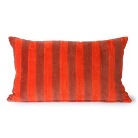HKliving | Striped velvet Cushion red/bordeaux (30x50)