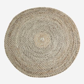Madam Stoltz Round hand stitched jute rug D:120 cm Jute, cotton - Natural, off white