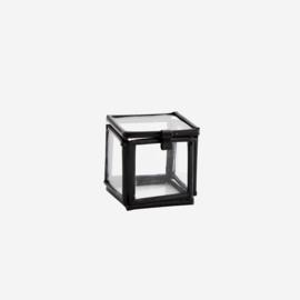 Madam Stoltz Quadratic glass box black 3,5x3,5x3,5 cm