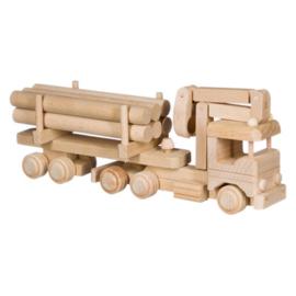 Houten speelgoed Vrachtwagen met boomstammen
