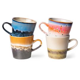 HKliving   70's Ceramic Americano mugs set van 4