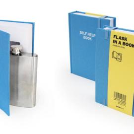 Suck UK Self Help Flask in a Book | Zelfhelp zakflacon in een boek
