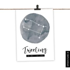 Sterrenbeeldkaart - Tweeling