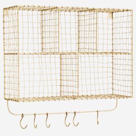 Madam Stoltz Iron shelf whit hooks 56x18x52 cm