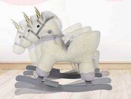Luxe unicorn eenhoorn hobbelpaard beige grijs