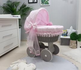 Xl wieg grijs op wielen Roze met kap