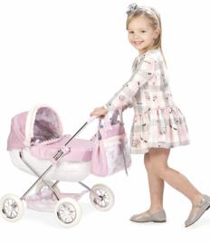 Spaanse luxe poppenwagen roze S ( vanaf 1 jaar )