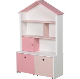 Kast  hout met lades roze