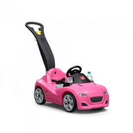 Loopauto roze met duwstang 120cm