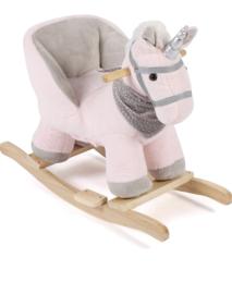 Luxe unicorn eenhoorn hobbelpaard roze grijs