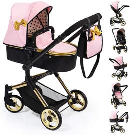 3 in 1 poppenwagen ( wieg, wandelwagen) Roze zwart goud
