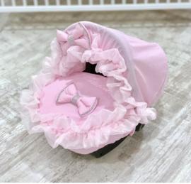 Maxi cosi voetenzak en kap  gepersonaliseerd roze bling