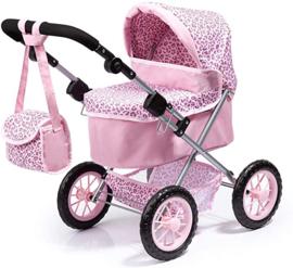 Poppenwagen roze panter verstelbaar incl tas