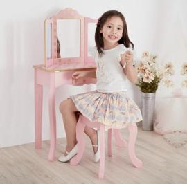 Kaptafelset hout roze dots
