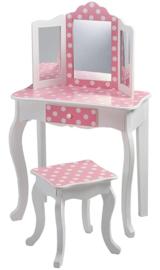 Kaptafelset hout wit roze