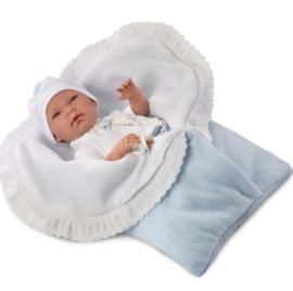 Spaanse pop 42 cm incl blauw babynestje