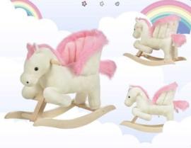 Luxe unicorn eenhoorn hobbelpaard wit roze