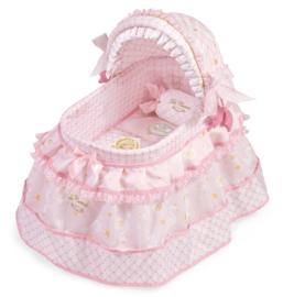 Baby poppenbedje roze   incl alle bekleding en rolkussen