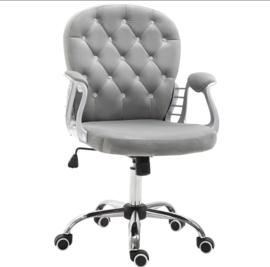 Grijze  Ergonomische bureaustoel met strass eco leder
