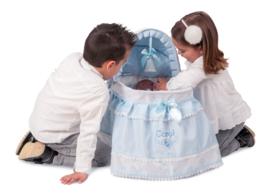 Baby poppenbedje blauw   incl alle bekleding en rolkussen