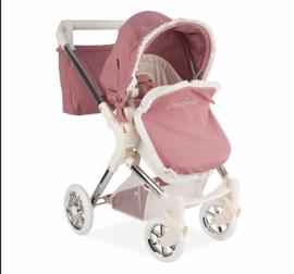 Spaanse luxe poppenwagen roze crème  M 2021