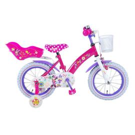 """Minnie mouse fiets 14"""" met zijwieltjes en handrem"""