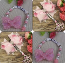 Set pink ( zacht roze bow )