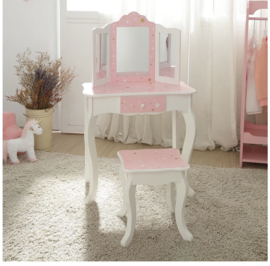 Kaptafelset hout roze wit stars