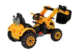 12v traktor met werkende schep oranje/geel