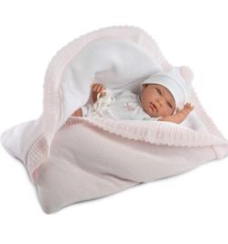 Spaanse pop 42 cm incl roze babynestje