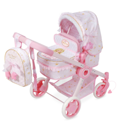 3 in 1 Spaanse poppenwagen roze 2019 ( wieg, wandelwagen)