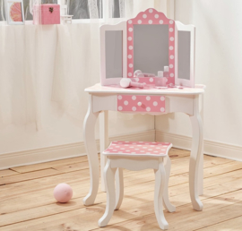 Kaptafelset hout wit roze dots