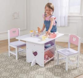 Kinder tafel set incl stoelen  hout wit hearts