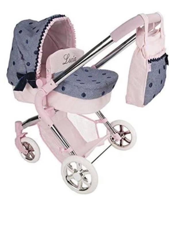 Spaanse luxe poppenwagen roze M 2021