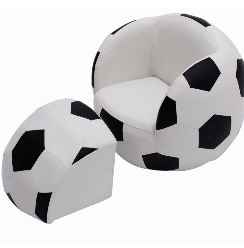 Eco lederen voetbal stoel incl voetenbank