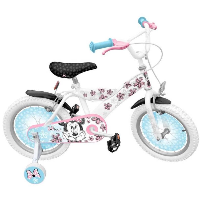 """Minnie mouse fiets 16"""" met zijwieltjes en handrem"""