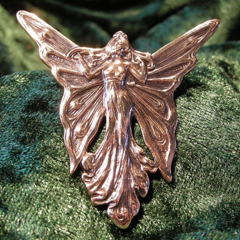 Art Nouveau broche brons